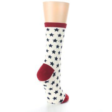 Image of Cream Red Navy Stars Women's Dress Socks (side-1-back-22)