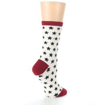 Image of Cream Red Navy Stars Women's Dress Socks (side-1-23)