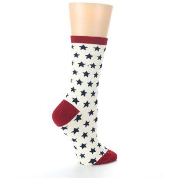 Image of Cream Red Navy Stars Women's Dress Socks (side-1-24)