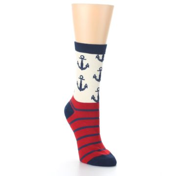 Image of Cream Red Navy Anchors Women's Dress Socks (side-1-front-02)