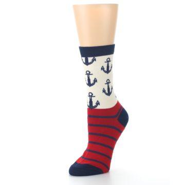 Image of Cream Red Navy Anchors Women's Dress Socks (side-2-09)
