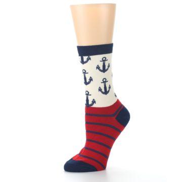 Image of Cream Red Navy Anchors Women's Dress Socks (side-2-10)