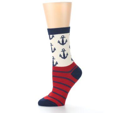 Image of Cream Red Navy Anchors Women's Dress Socks (side-2-11)