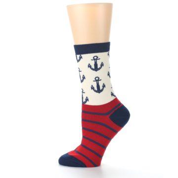 Image of Cream Red Navy Anchors Women's Dress Socks (side-2-12)