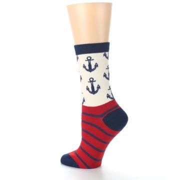 Image of Cream Red Navy Anchors Women's Dress Socks (side-2-back-14)