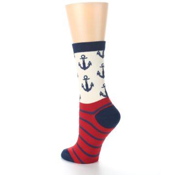 Image of Cream Red Navy Anchors Women's Dress Socks (side-2-back-15)