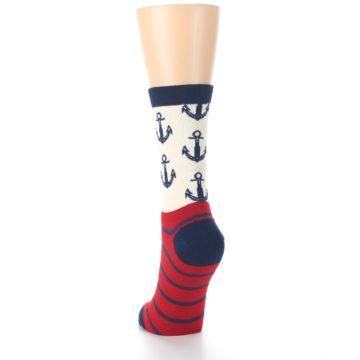 Image of Cream Red Navy Anchors Women's Dress Socks (back-17)