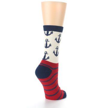 Image of Cream Red Navy Anchors Women's Dress Socks (side-1-back-22)