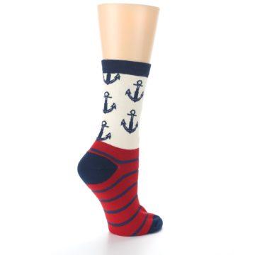 Image of Cream Red Navy Anchors Women's Dress Socks (side-1-23)