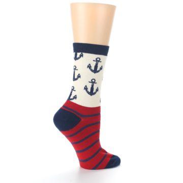 Image of Cream Red Navy Anchors Women's Dress Socks (side-1-24)