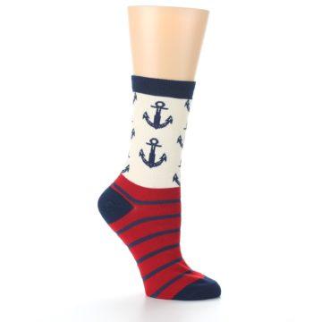 Image of Cream Red Navy Anchors Women's Dress Socks (side-1-26)