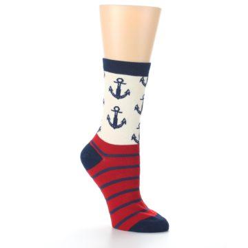 Image of Cream Red Navy Anchors Women's Dress Socks (side-1-27)