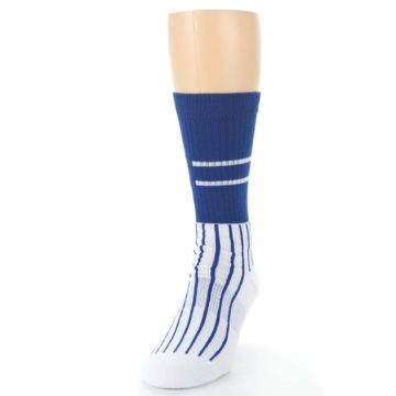 Image of Chicago Cubs Pinstripes Men's Athletic Crew Socks (side-2-front-06)