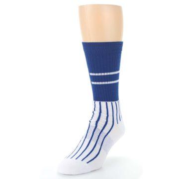 Image of Chicago Cubs Pinstripes Men's Athletic Crew Socks (side-2-front-07)