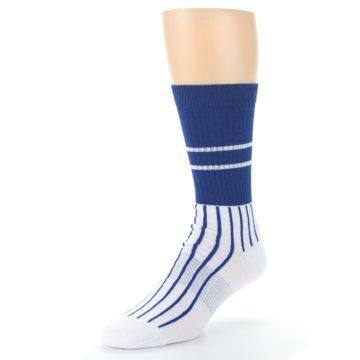 Image of Chicago Cubs Pinstripes Men's Athletic Crew Socks (side-2-front-08)