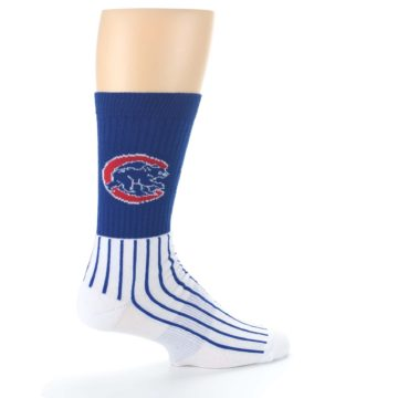 Image of Chicago Cubs Pinstripes Men's Athletic Crew Socks (side-1-23)