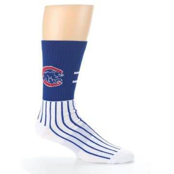 Image of Chicago Cubs Pinstripes Men's Athletic Crew Socks (side-1-25)