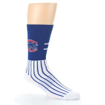 Image of Chicago Cubs Pinstripes Men's Athletic Crew Socks (side-1-26)