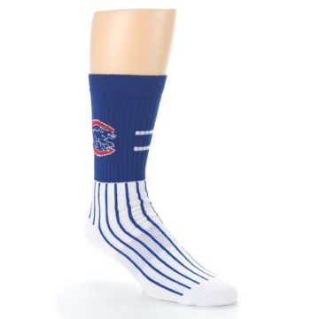 Image of Chicago Cubs Pinstripes Men's Athletic Crew Socks (side-1-27)
