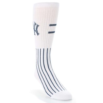 Image of New York Yankees Pinstripes Men's Athletic Crew Socks (side-1-front-02)
