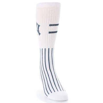Image of New York Yankees Pinstripes Men's Athletic Crew Socks (side-1-front-03)