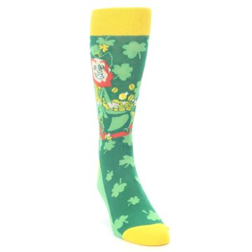 Image of Green Irish Leprechaun Men's Dress Socks (side-1-front-03)