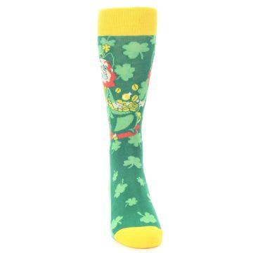 Image of Green Irish Leprechaun Men's Dress Socks (front-04)