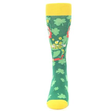 Image of Green Irish Leprechaun Men's Dress Socks (front-05)