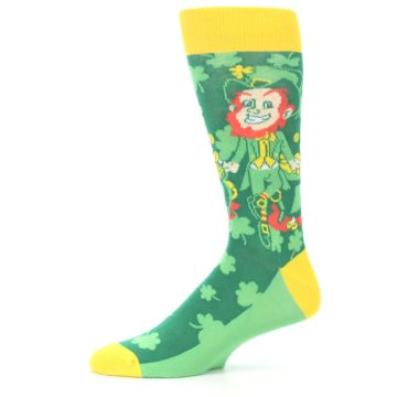 Image of Green Irish Leprechaun Men's Dress Socks (side-2-11)