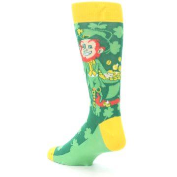 Image of Green Irish Leprechaun Men's Dress Socks (side-2-back-15)