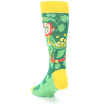 Image of Green Irish Leprechaun Men's Dress Socks (side-2-back-16)