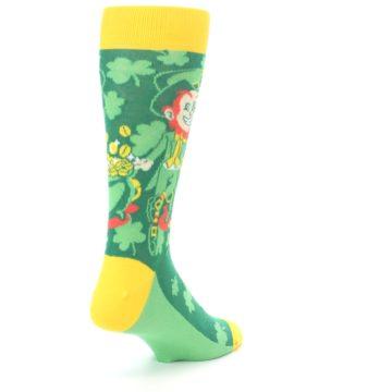 Image of Green Irish Leprechaun Men's Dress Socks (side-1-back-21)
