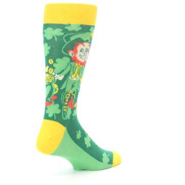 Image of Green Irish Leprechaun Men's Dress Socks (side-1-back-22)