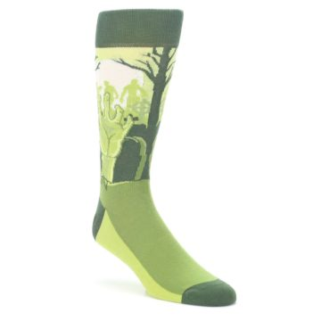 Green-Zombie-Graveyard-Mens-Dress-Socks-Statement-Sockwear