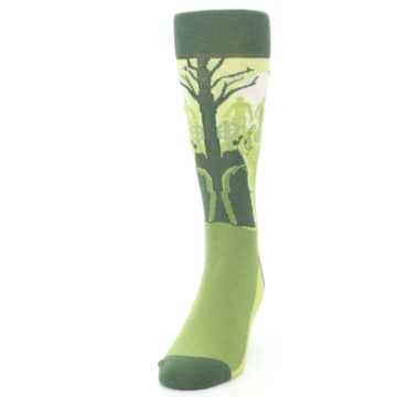 Image of Green Zombie Graveyard Men's Dress Socks (side-2-front-06)
