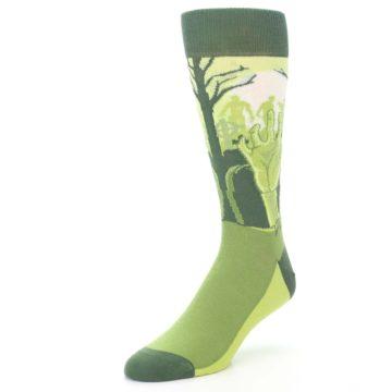 Image of Green Zombie Graveyard Men's Dress Socks (side-2-front-08)