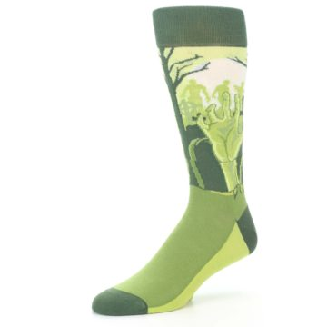 Image of Green Zombie Graveyard Men's Dress Socks (side-2-09)
