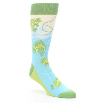 Image of Green Blue Fishing Lure Men's Dress Socks (side-1-front-01)