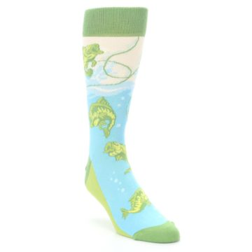 Image of Green Blue Fishing Lure Men's Dress Socks (side-1-front-02)