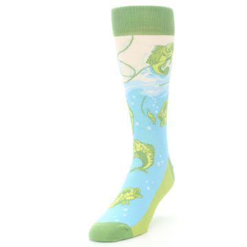 Image of Green Blue Fishing Lure Men's Dress Socks (side-2-front-07)
