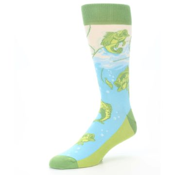 Image of Green Blue Fishing Lure Men's Dress Socks (side-2-09)