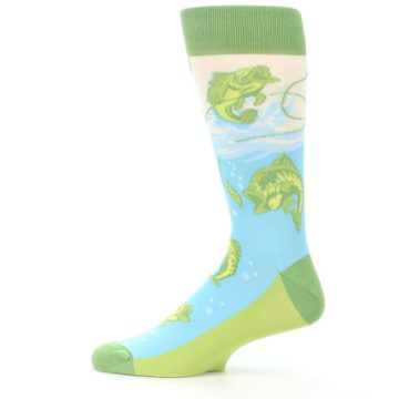 Image of Green Blue Fishing Lure Men's Dress Socks (side-2-12)