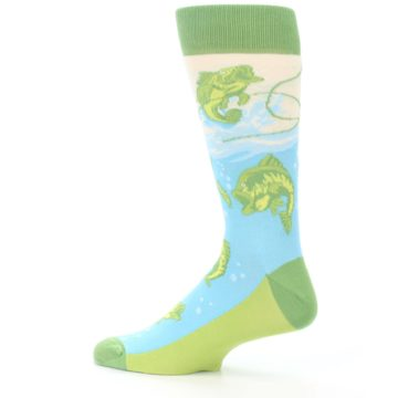 Image of Green Blue Fishing Lure Men's Dress Socks (side-2-13)