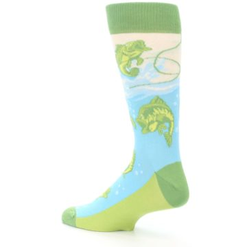 Image of Green Blue Fishing Lure Men's Dress Socks (side-2-back-14)