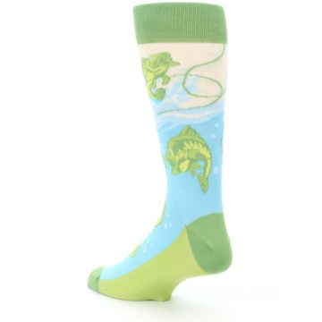 Image of Green Blue Fishing Lure Men's Dress Socks (side-2-back-15)
