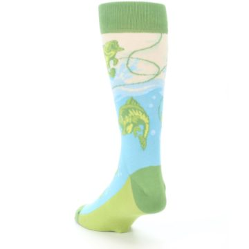 Image of Green Blue Fishing Lure Men's Dress Socks (side-2-back-16)