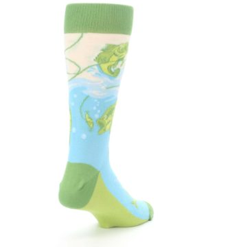 Image of Green Blue Fishing Lure Men's Dress Socks (side-1-back-21)