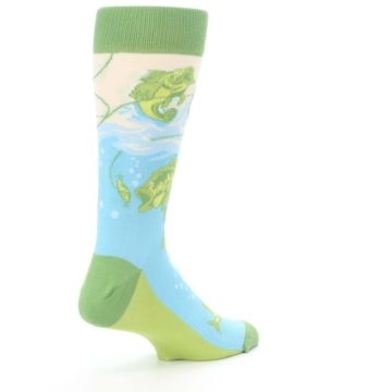 Image of Green Blue Fishing Lure Men's Dress Socks (side-1-back-22)