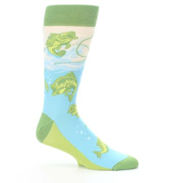 Image of Green Blue Fishing Lure Men's Dress Socks (side-1-25)