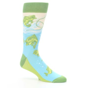 Image of Green Blue Fishing Lure Men's Dress Socks (side-1-26)